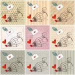 Cute birds in love illustrations — Stock Vector #65913503