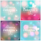 Set van glinsterende valentijnsdag achtergronden — Stockvector
