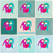 Cute couple in love illustrations — Stock Vector