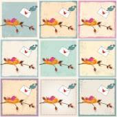 Cute birds in love illustrations — Stock Vector