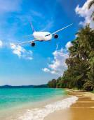 Jet plane over the tropical sea  — Stock Photo