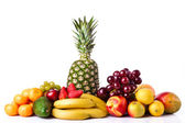 Fresh fruits isolated on a white background. Set of different fr — Stock Photo