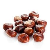 Chestnut on white background. ripe chestnuts  — Stock Photo