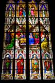 COLOGNE, GERMANY - SEPTEMBER 21: Stained glass church window wit — Foto Stock
