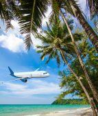 Jet plane over the sea — Stock Photo