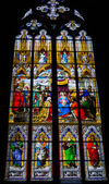 Stained glass church window with Pentecost theme — Foto Stock