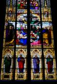Stained glass church window with Pentecost theme — Stock Photo