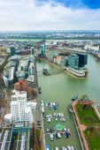 Wide angle picture of river Rhine, Duesseldorf. Seen from the te — Stock Photo