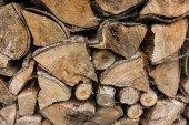 Closeup of chopped fire wood stack  — Foto Stock