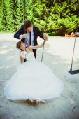 Свадьба Пара в парке — Стоковое фото