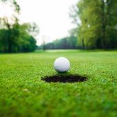 Bola de golfe no prado verde. — Fotografia Stock
