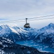 Mountains ski resort. Cable car. Winter in the swiss alps. moun — Stok fotoğraf #58596349