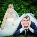 Wedding couple on picnic — Stock Photo #58729107
