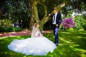 Bride and groom posing in a park — Photo