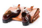 Leather Shoes and bag — Stock Photo
