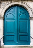 蓝色木质门 — 图库照片