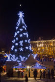 Christmas night in old town — Stock Photo