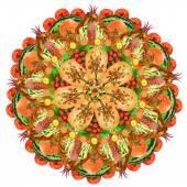 Sacred food pizza form mandala — Stock Photo