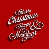 Merry Christmas and Happy New Year type calligraphic typography. — Stok Vektör