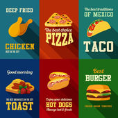 Fastfood retro style banners vector design templates set. — Stock Vector