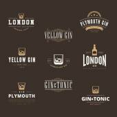 Gin Tonic Retro Vintage Labels Hipster Logo design vector typogr — Stock Vector