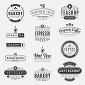 Coffee Retro Vintage Labels Logo design vector typography letter — Vector de stock