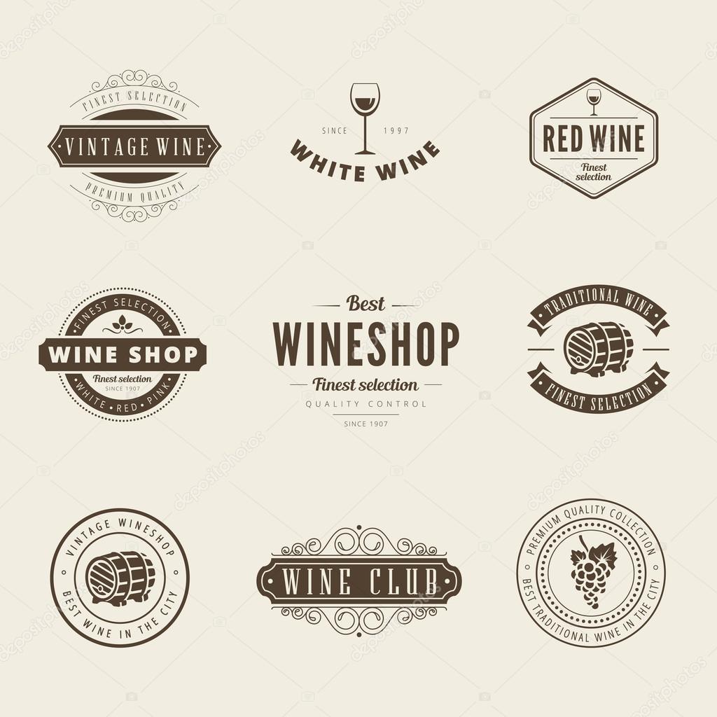 Wine Retro Vintage Labels Hipster Logo Design Vector