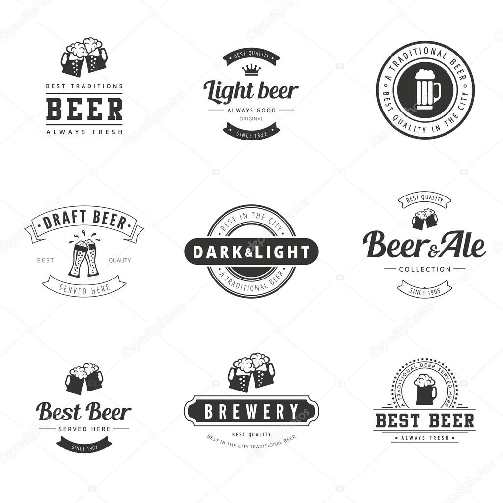 Beer Hipster Logo design vector typography lettering templates ...