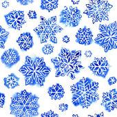 Watercolor pattern snowflakes — Stock Photo