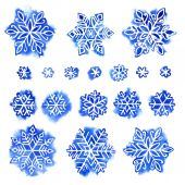 Watercolor snowflake set — Stock Photo