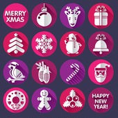 Set of icons, symbols or labels for Xmas and New Year — Stock Vector