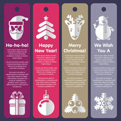 Set of labels, greeting cards or banners for Xmas and New Year — Vector de stock