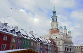 Snow-covered Old Market Square and City Hall — Stok fotoğraf
