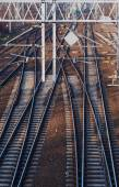 Railroad and the construction of electric traction — Stock Photo