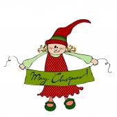 Cute illustrated Christmas elf — Stock Photo