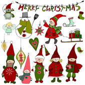 Cute Christmas elements and elves  — Stock Photo