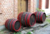 Three wooden barrels — Stock Photo