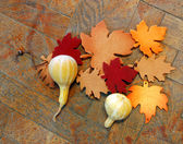 Beautiful autumn colors of artificial leaves and pumpkins on wooden floor — Stock Photo