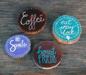 Badges with words smile, coffee, honest friend — Stock Photo