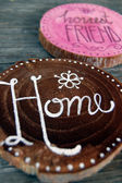 Closeup of Badges with words, home, honest friend — Stock Photo