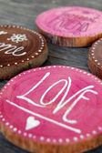 Closeup of Badges with words, love, honest friend — Stock Photo