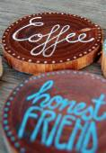 Closeup of Badges with words, honest friend, coffee — Stock Photo