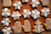 Gingerbread cookies on wooden table — Stock Photo