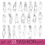 Set of beautiful fashion girls — Stock Vector #61037875