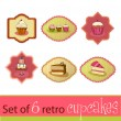 Set of cute retro cupcake cards — Stock Vector #61038823