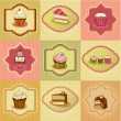 Set of retro cake cards — Stock Vector #61038929