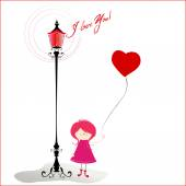 Background with girl holding balloon — Διανυσματικό Αρχείο