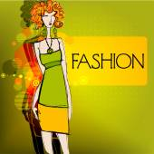 Fashion background with elegant model — Stock Vector
