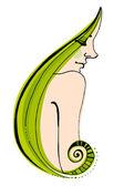 Cute girl with green hair — Stock Vector