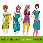 Set of fashion models — Stock Vector